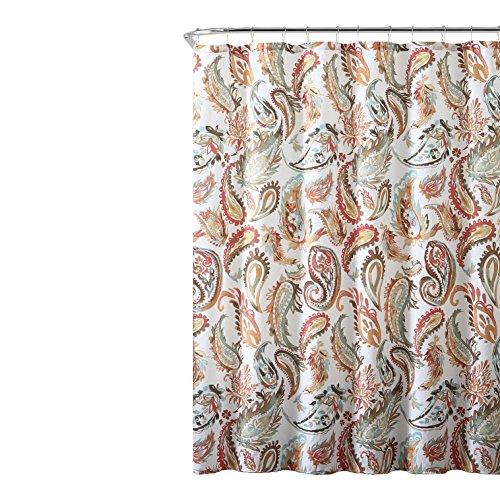 - Decorative Teal Orange Fabric Shower Curtain: Watercolor Floral Paisley Design, 72