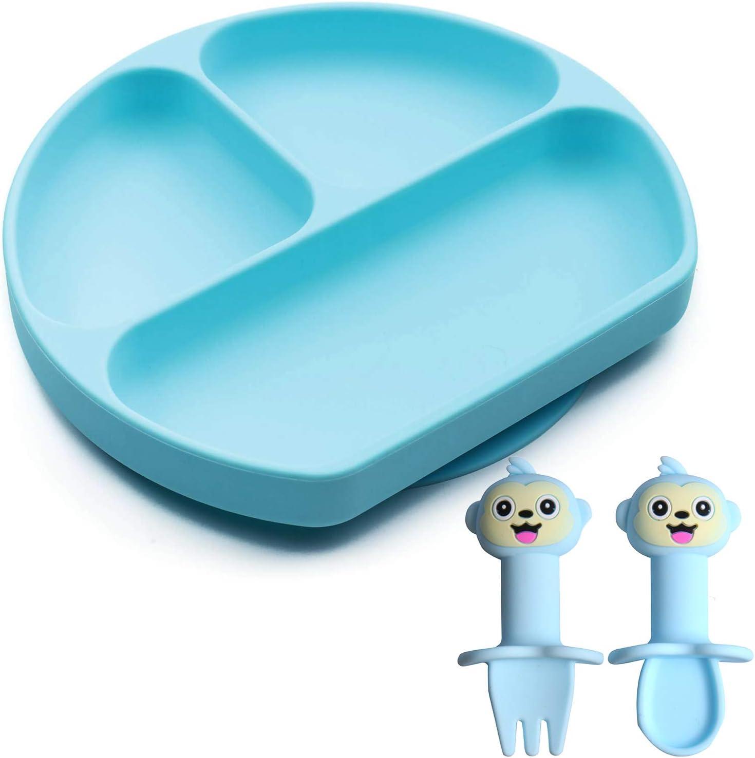 Plato de Silicona con Ventosa Bebé y Bebé Siliconas Tenedor Cucharas Sin BPAP Antideslizante Portátiles Cubiertos Infantiles Adecuado para Sillas Altas y Mesas para Niños