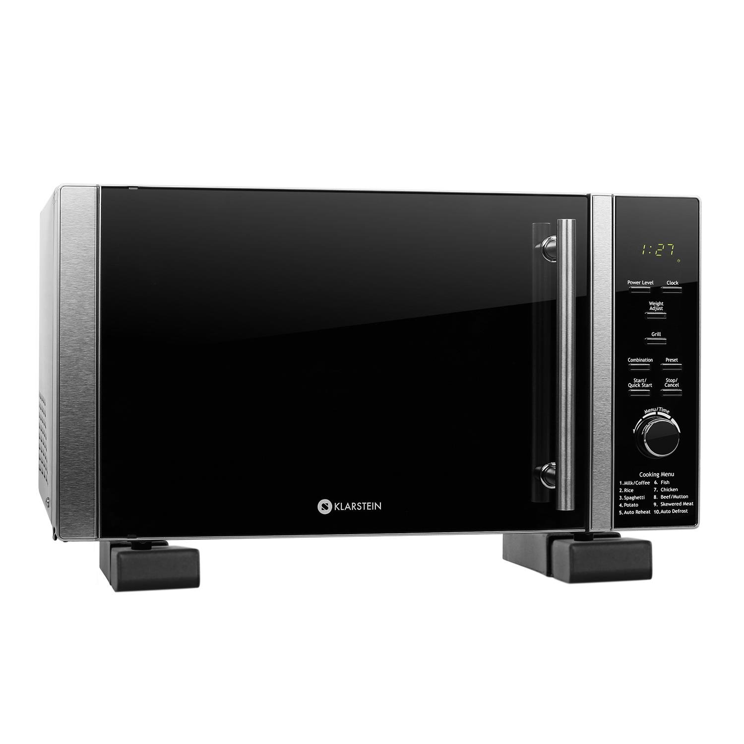 Klarstein Luminance Prime Compact Microwave with Grill (700W, 20L Capacity, 12 Automatic and Combination Cooking Programs) Silver TK23-Luminance-Prime