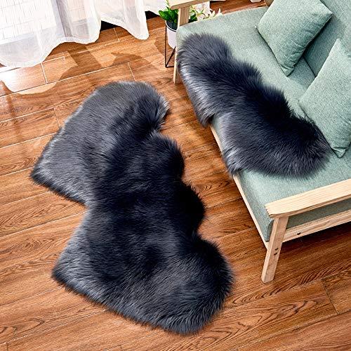 Studyset Double Heart-Shaped Soft Faux Comfort Sheepskin Rug Mat Carpet Pad Anti-Slip Chair Sofa Cover for Bedroom Decoration Dark Gray 60120cm