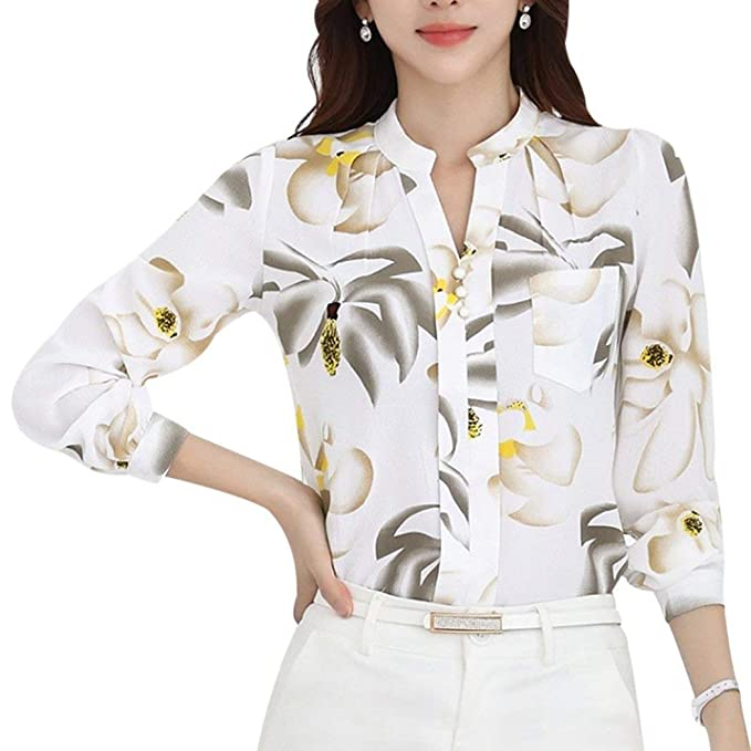 Mujer Blusas Primavera Verano Negocios Oficina Elegantes Moda Camisas Elegantes Basic Anchos Chiffon Blusa Camisa Manga Larga Patrón De Flores Impreso ...