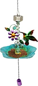 X-PREK Retro Bird Feeder with Solar Color Changing Light,Wild Bird House with Wind Chimes Squirrel-Proof Metal Bird Feeders Hanging for Garden Yard Outside Decoration