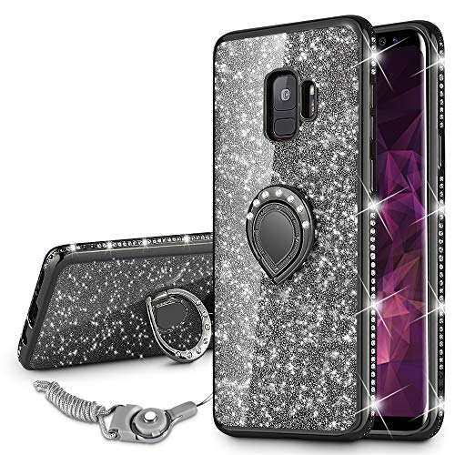 VEGO Galaxy S9 Case Glitter Bling Diamond Case with Kickstand Rhinestone Bumper for Girls Women Sparkly Luxury Slim Soft Protective Case with Ring Stand for Samsung Galaxy S9 (S9-Black)