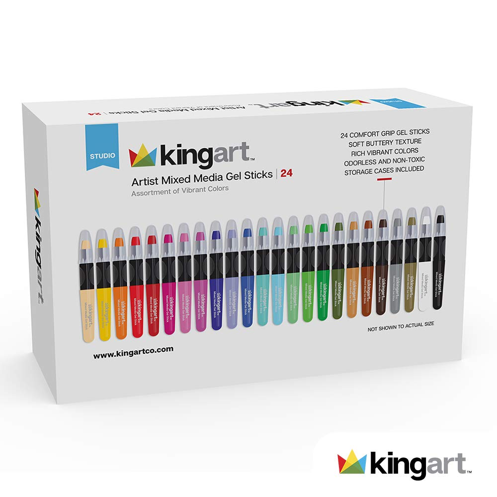 829758351d54 Amazon.com: KINGART Artist Mixed Media Gel Sticks - Set of 24, Vivid Colors