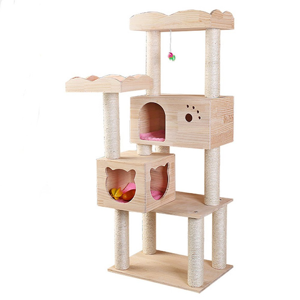 Beige Cat climbing frame Cat Tree Stable Structure Natural Sisal Rope Cathead Cat Toy Pet Supplies Strong and steadily (color   Beige)