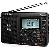 Retekess V115 Radio Portatile FM/AM/SW Sintonizzatore Transistor Suono Basso MP3 Lettore REC Registratore Vocale con Timer di Sonno per Viaggiare (Nero)