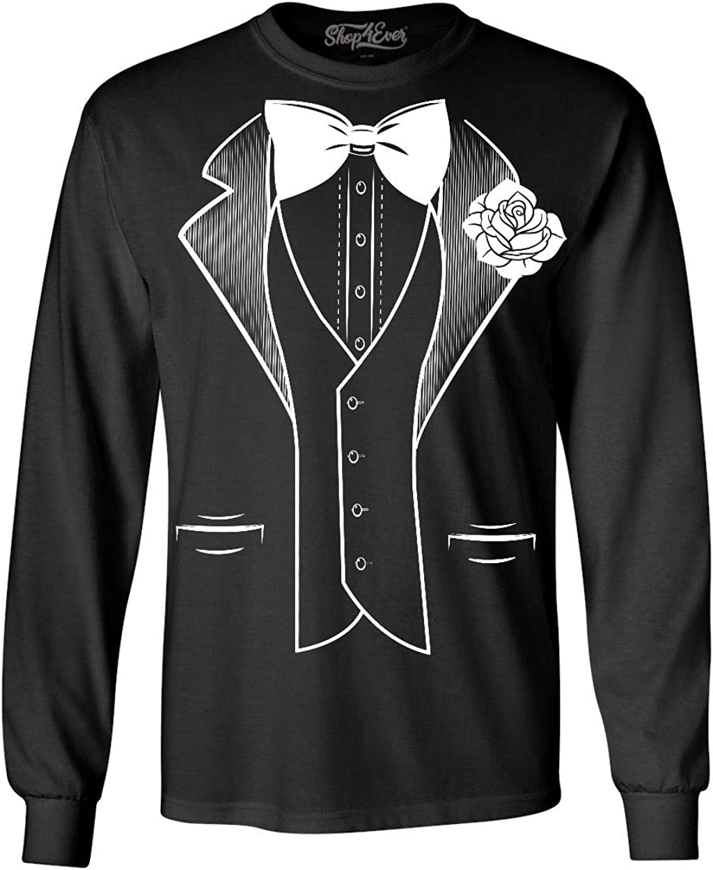 Classic Tuxedo Costume with White Rose Women/'s T-Shirt Funny Suit Shirts
