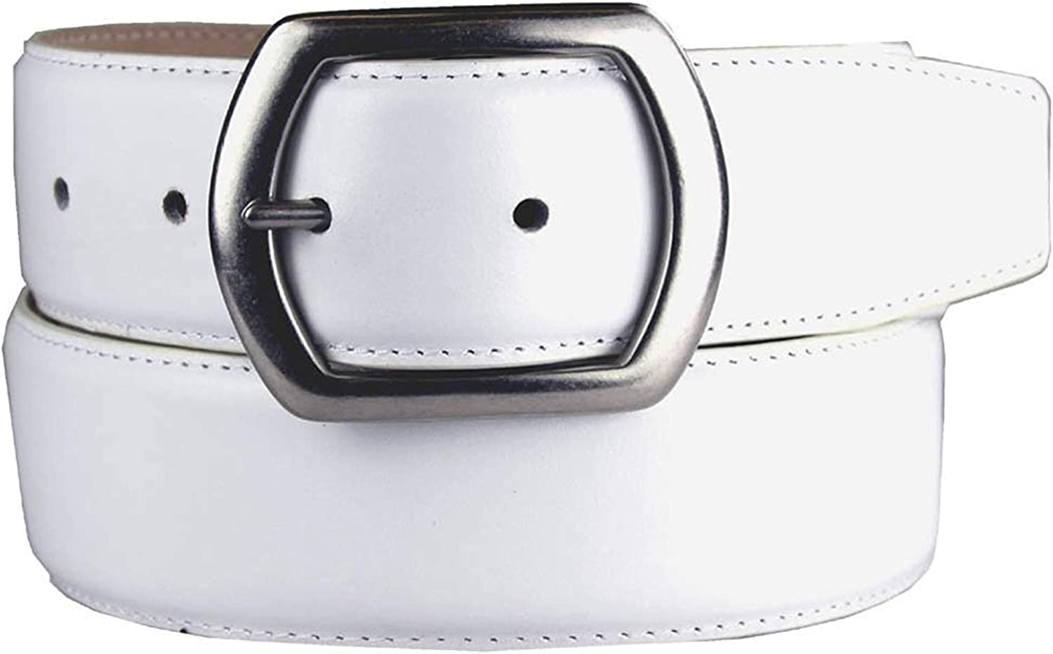 Pele Belt Men White 1-1//2 Wide Full Leather Stitched Edges Metal Geo Buckle