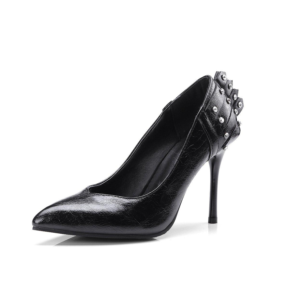 MEI&S Damen Stiletto High Heels Schuhe Flache Mund Schuhe schwarz  schwarz Schuhe 6b5a08