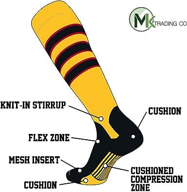 Black Red White TCK Elite Baseball Knee High Stirrup Socks F, 7in Black