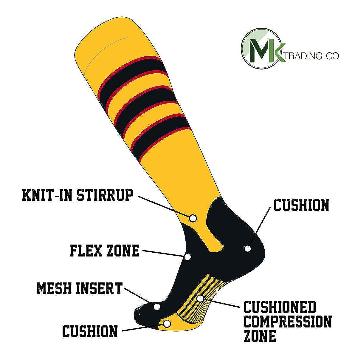D, 5in Gold Black Black Red TCK Elite Baseball Knee High Stirrup Socks
