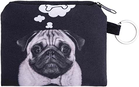 NEARTIME Coin Wallet, Coins Change Purse Zipper Wallet Small Key Bags Dog Cat Print