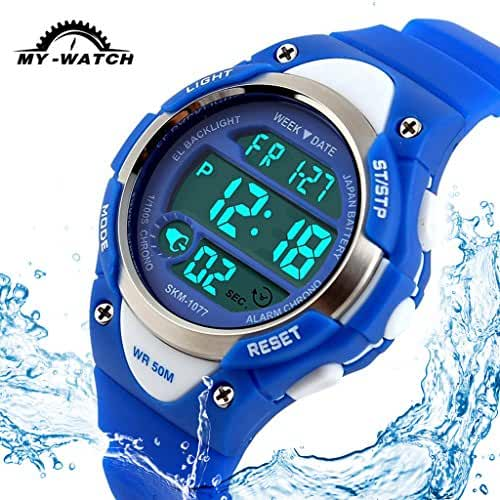 My-Watch Boys Sport Digital Watch Kids Outdoor Waterproof Stopwatch LED Electronic Wrist Watches