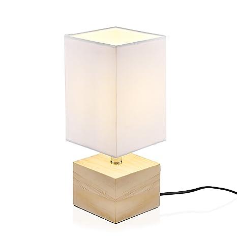 Lámpara de mesa Viugreum con base de madera con pantalla de tela/Lámpara de escritorio moderna para el dormitorio de la sala de estar (003-White)
