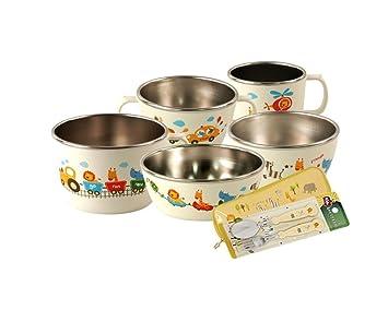 12bac6e83b49 E-MART BPA Free, Corn and Stainless Made Kids Dinnerware Full Set, 7 Piece