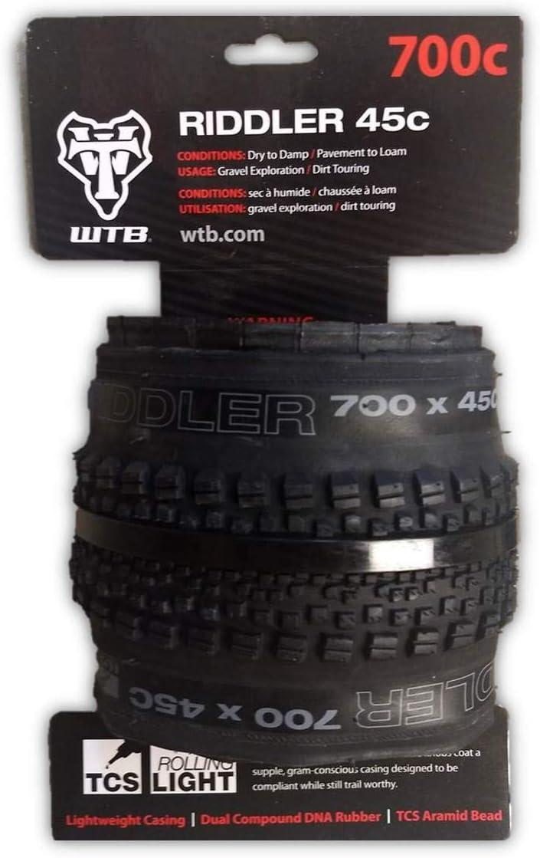 WTB Riddler 700 x 45c TCS Gravel Bike Tire Lightweight Fast Rolling Black /& Tan
