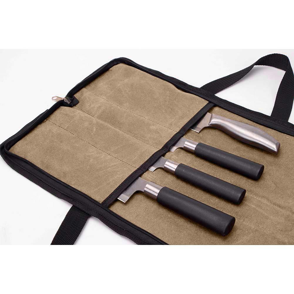 Kaki 4 F/ächer K/üchenwerkzeugtasche HYGJB440 Rei/ßverschluss QEES Kochmesser-Tasche Messertasche mit 2 Handgriffen
