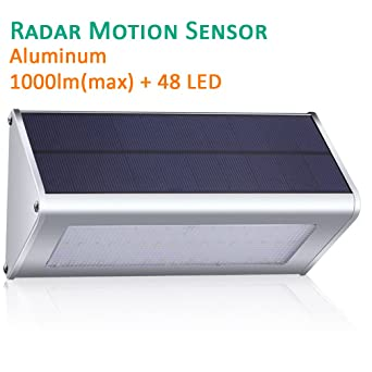 GIARIDE 48 LED 1000 Lumen Outdoor Solar Wall Light Radar Motion Sensor  Solar Powered Lamp Light
