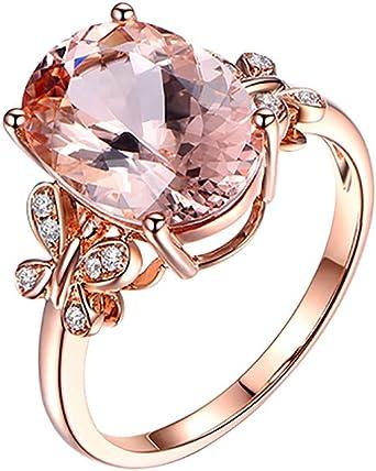 Mariage Rose Gold Ring Femmes rempli Argent Taille Bijoux Bande Blanc Saphir NEUF