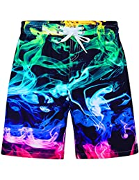Boys Teens Swim Trunks Quick Dry Waterproof Surfing Board Shorts Drawstring Elastic Waist with Mesh Lining 5-14T