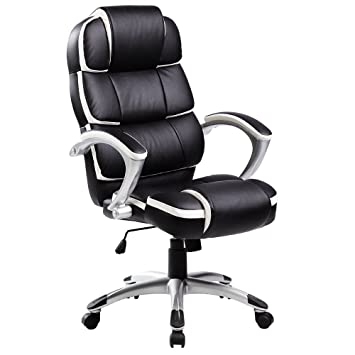 Oypla Luxury Designer Computer Office Chair - Black with White ...