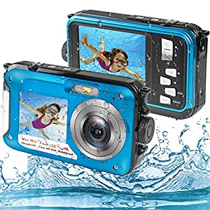 Appareil Photo Etanche Numérique, Camera sous Marine Full HD 2.7K 48MP Camera Etanche avec Double écran, Zoom Numérique…