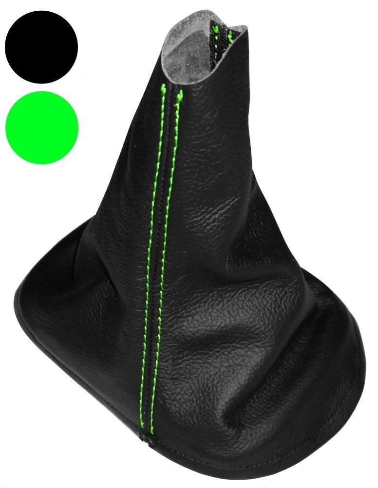 Aerzetix - Schaltsack Schalthebelmanschetten Schalthebelmanschette Schaltbetä tigungs Schwarze Farbe 100% Leder grü n Nä hten 3800946189770