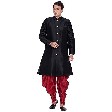7d5892c9a4 VASTRAMAY Men Silk Sherwani Style Kurta Set Ethnicwear (VASMKBL006nCDMA_36  Colour: Black Size: 36