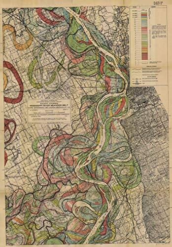 1944 Map Mississippi River Meander Belt Alluvial Valley Harold Fisk ✴️ Plate 5 (3 Sizes) - Wall Map Mississippi