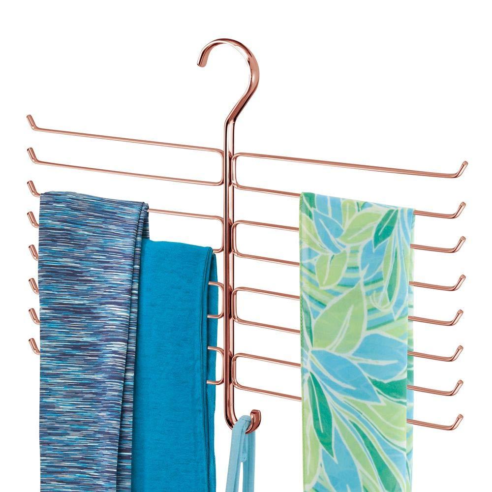 Colgador de pantalones de yoga con 16 ganchos de alambre met/álico Organizador de accesorios para ahorrar espacio en el armario dorado rojizo mDesign Percha organizadora para mallas y pa/ñuelos