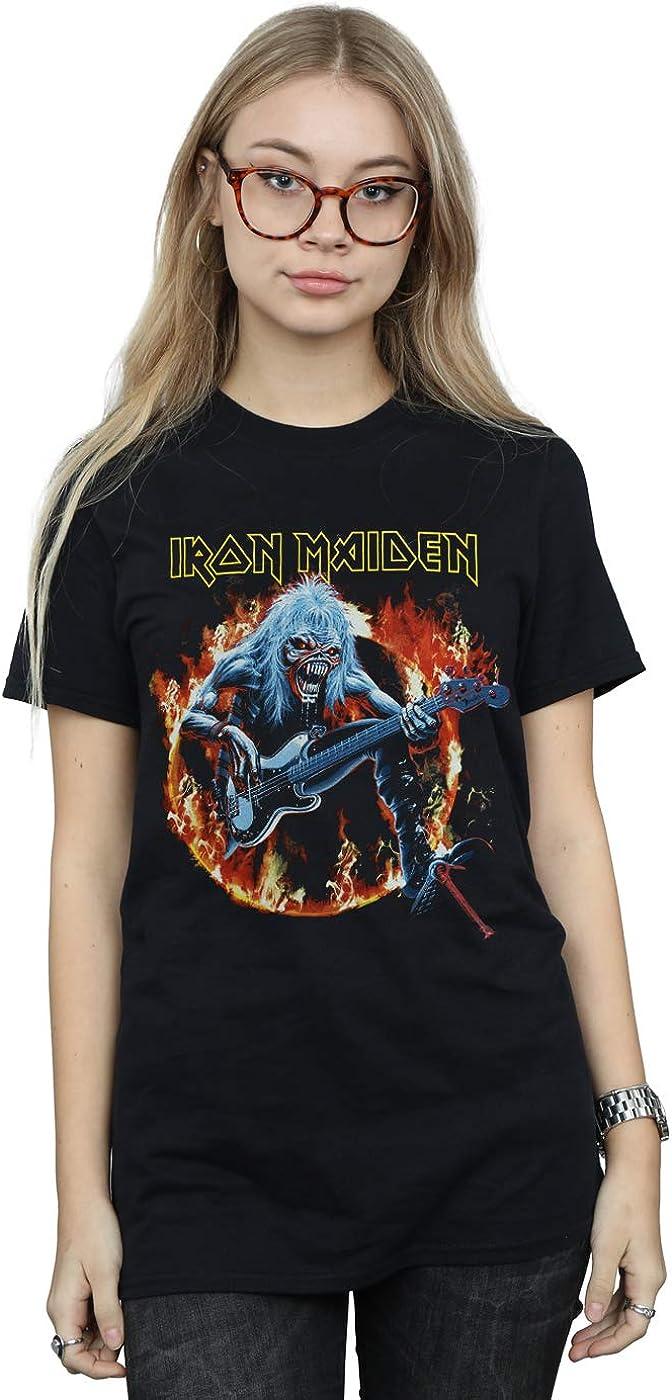 Iron Maiden Mujer Fear Live Flames Camiseta del Novio Fit