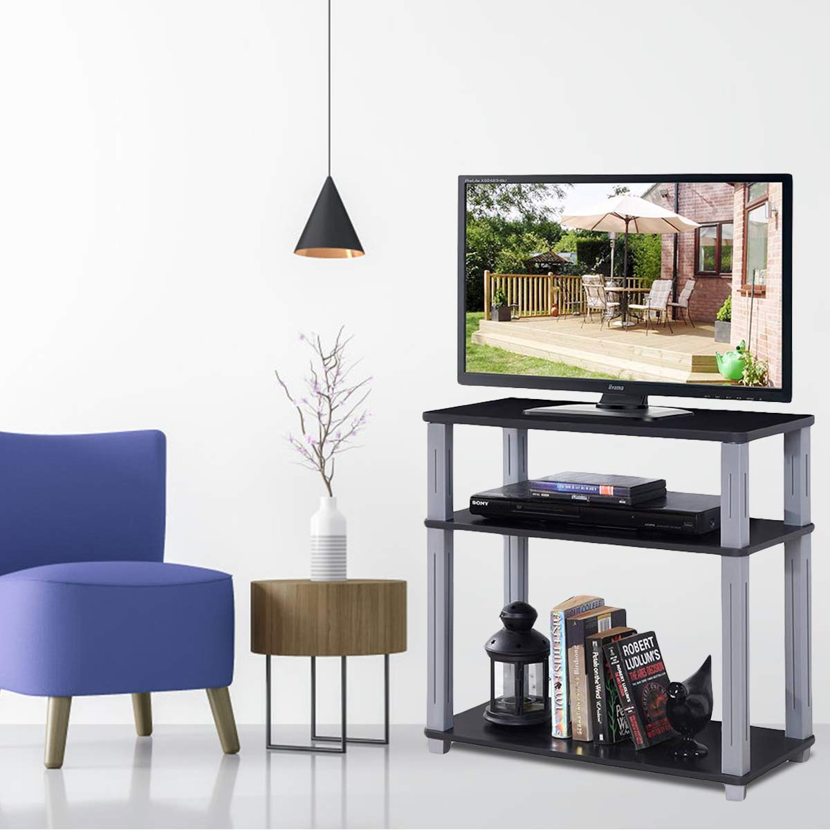 Tangkula TV Stand, 3-Tier TV Stand Storage Console with Shelves for Home Office, Sturdy Stable Construction Display Cabinet, TV Entertainment Center Console Black