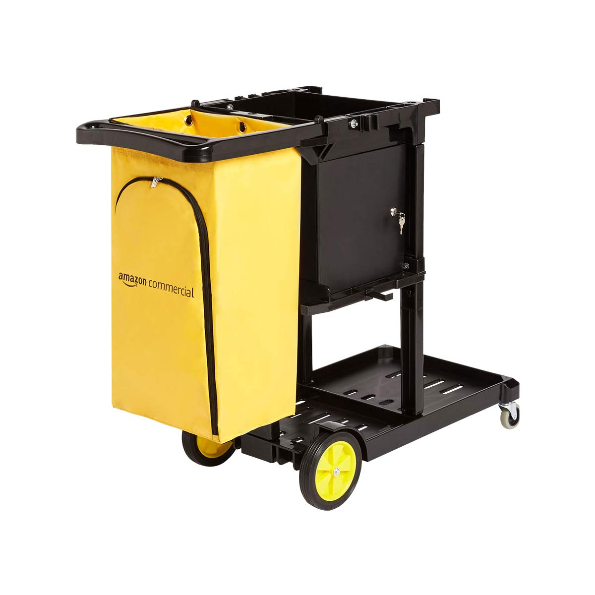 AmazonCommercial Janitorial Cart with Key-Locking Cabinet, Black by AmazonCommercial