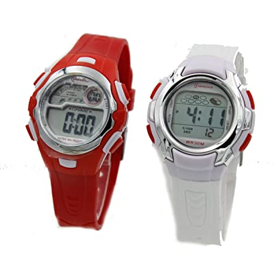 2 Pack Children's White and Red Sports Digital Watch