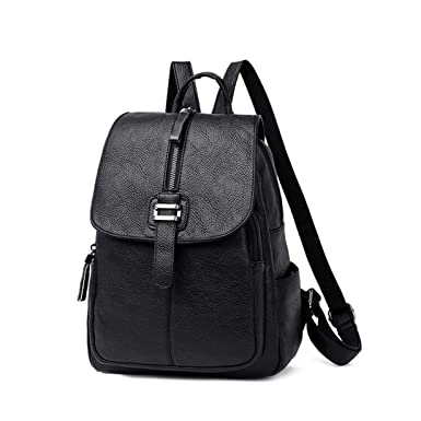 e5e0b0dc9f7b Amazon.com: Belt Zipper Design Backpack Female Leather Backpacks For ...