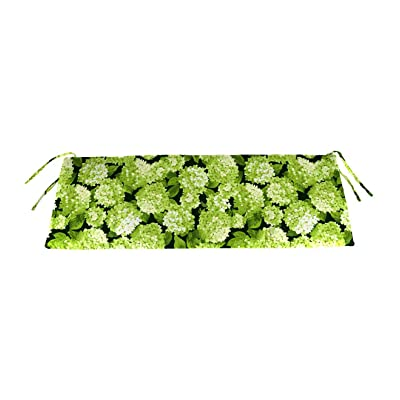 Plow & Hearth Classic Polyester Outdoor Swing/Bench Cushion, 47'' x 16'' x 3'' - Forest Hydrangea : Garden & Outdoor