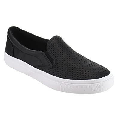 Soda IF14 Women's Perforated Slip On Elastic Panel Athletic Fashion Sneaker,  Color Black PU,