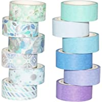 Yubbaex 12 Rolls Blue Silver Washi Tape Set Masking Decorative Tapes (Blue Mix)