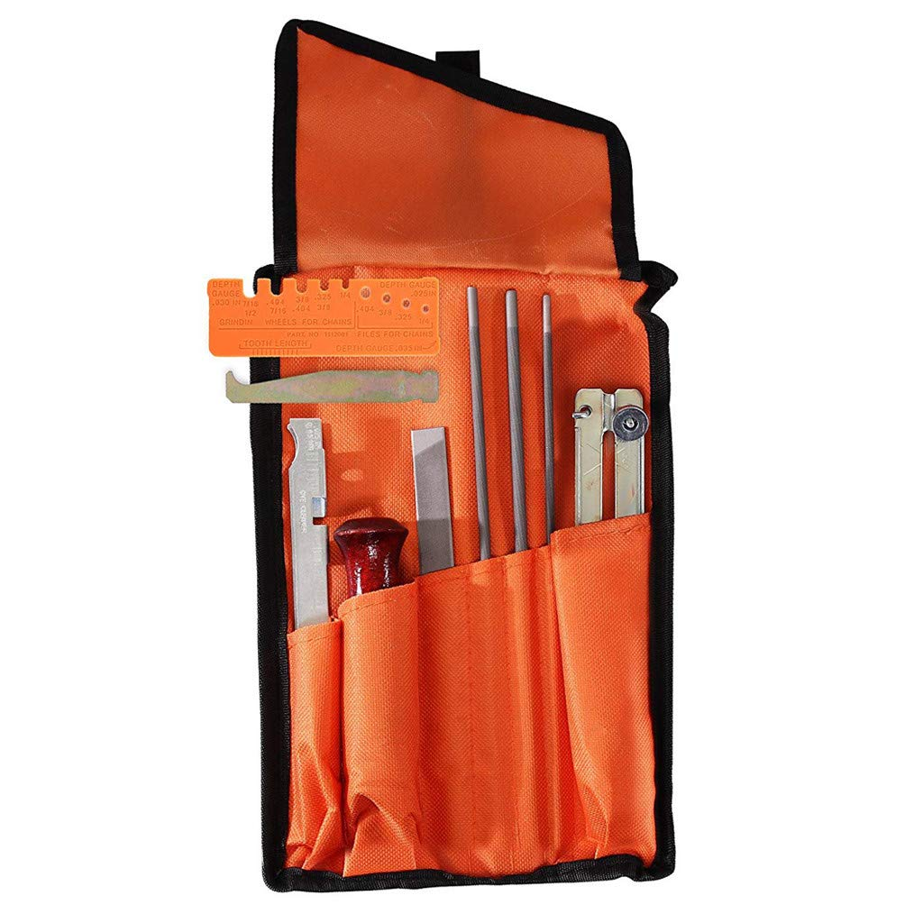 10 Piece Chainsaw Sharpening & Filing Kit, Includes :5/32, 3/16, 7/32 Round Files, 6 Inch Flat File, Depth Gauge, Filing Guide Holder, Hardwood Handle, Tool Set Pouch for Sharpening Saw Chain Blades by BeautyShe