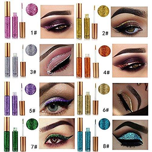 10 Colors Liquid Glitter Eyeliner Metallic Shimmer Glitter Eyeshadow Pigment Eyebrown Shimmer Waterproof Face Lips Art for Party Festival Makeup