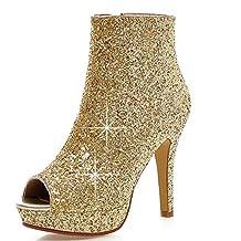 DoraTasia Sexy Peep Toe Glitter Upper Thin High Heels Zipper Women's Ankle Boots
