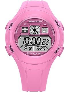 SANDA - Reloj Digital para Niños Reloj de Pulsera Deportivo LED Luz Impermeable Alarma Fecha Cronómetro