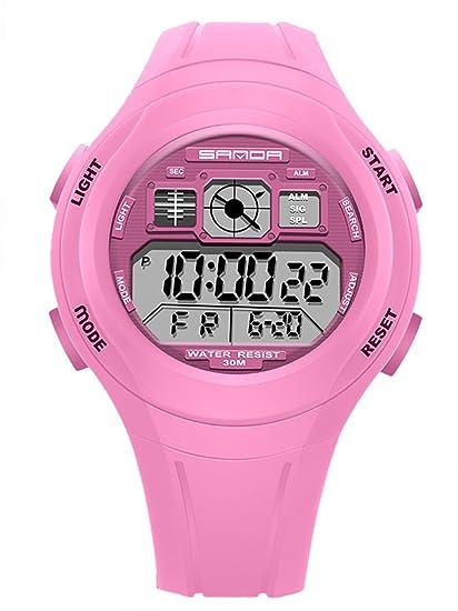 SANDA - Reloj Deportivo Impermeable Alarma LED Luz Fecha Cronómetro para Niños Niñas Unisex Reloj de Pulsera Digital para Estudiantes - Rosa: Amazon.es: ...