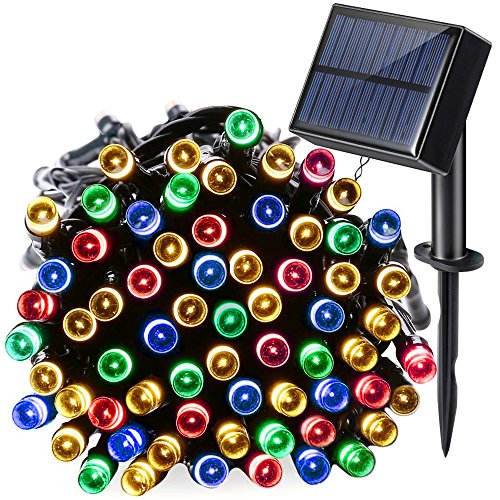 Venoro Solar String Lights, 40ft 100 LED 8 Modes Waterproof Solar or USB Charge Decoration Fairy Lights for Home, Outdoor, Garden, Patio, Lawn, Party, Wedding, St Patricks Day (Multicolor) from Venoro