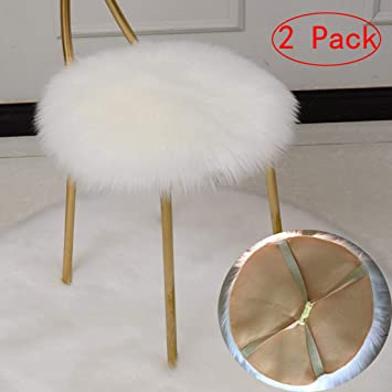 super popular 7789f a19b8 LJNGG 2 Pack 14 inches Bar Stool Cover Office Round Chair Covers Rotating  Seat Desk Protector Salon Faux Fur Barstool Cover Soft Warm White (White  Set ...
