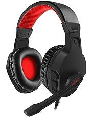 NUBWO Gaming Auriculares, U3 Estéreo Micrófono con Cancelación del Ruido, Audífonos con Control de Volumen Interruptor Mudo para PC,Mac,PS4,Xbox One, Android y iPhone — Rojo