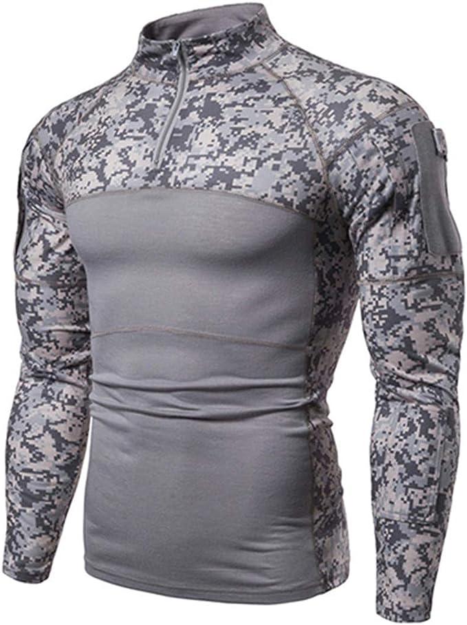 Camisetas tácticas Militares Hombres Camuflaje de Manga Larga de ...