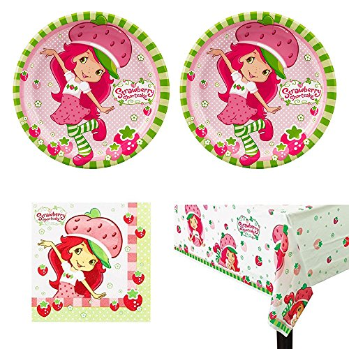 Strawberry Shortcake birthday Party Supplies - 16 guests - plates, napkins, tablecover (Table Strawberry Shortcake)
