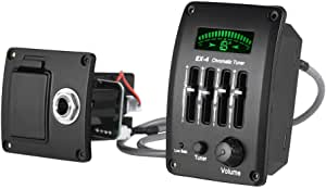 Acoustic Guitar 4-Band EQ Equalizer Tone and Volume Amplifier Preamp Piezo Pickup with Chromatic Tuner LCD Display