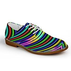 HUGSIDEA Multicolor Striped Men's Casual Fashion Dress Oxfords Cap Toe Lace Up Flats Walking Shoes US12